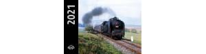 Kalendář nástěnný železniční 2021, malý, parní lokomotivy, Bohumil Skála, Corona