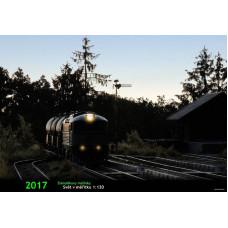 Měsíční nástěnný kalendář modelové železnice pro rok 2017, formát A4, na šířku, JZ-KAL-2017
